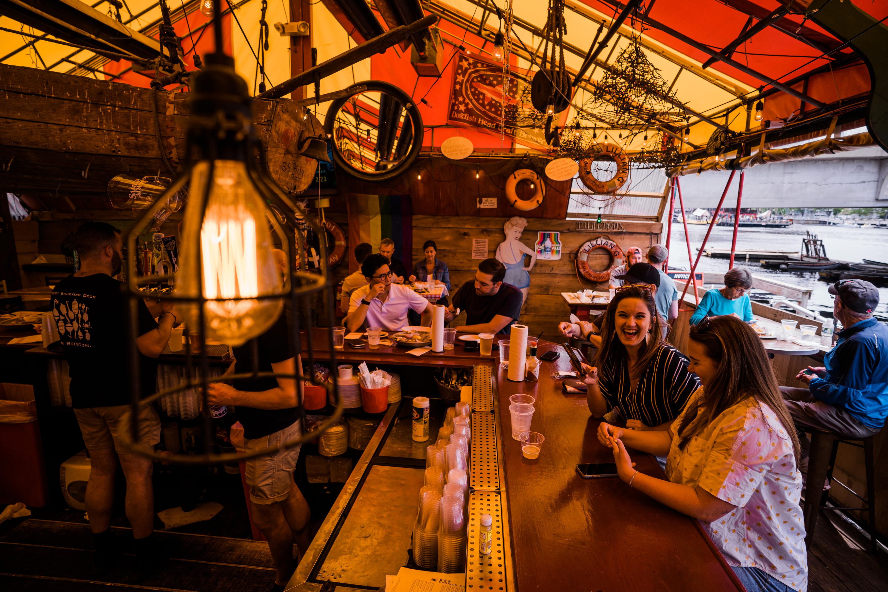 Customers eating at The Barking Crab